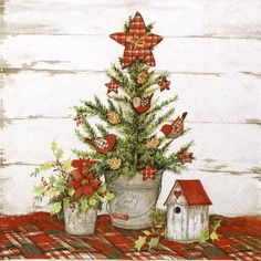 4x Single Party Paper Napkins for Decoupage Decopatch Craft Cottage Christmas
