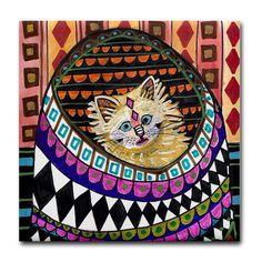 Ceramic Tile Coasters Persian Cat Folk Art by HeatherGallerArt, $16.00