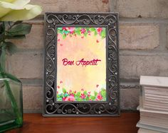 Bon Appetit quote, french quotes, Enjoy your meal , french art quote, pink art quote, floral french, floral quotes, digital quotes by WatercolorArtHut on Etsy