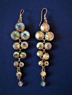 Vintage costume jewelrey aurora borealis earrings by TrendsofanEra