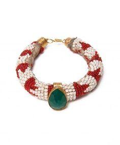 Red and White Stripe Beaded Bracelet