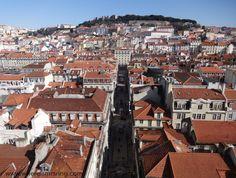View of Lisbon and St George Castle from Santa Justa Lift #travel #lisbon #lisboa