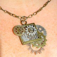 Steampunk metal gears frame necklace $15.00