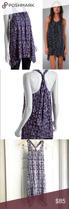 Alice + Olivia Purple Silk Tunic Tank / Dress Such a gorgeous, high quality piece! A beautiful silk purple print, this flowy tunic has a fun asymmetrical hem! Gathered pleats at the neckline give some dimension to this beautiful piece. Can be worn as a tunic with leggings or as a dress! Perfect for date night, weddings, or any occasion that can use some extra glam! Crinkle texture. LIKE NEW condition! A Alice + Olivia Dresses