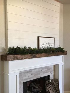 Another example with white shiplap, wood mantle and gray surround. Fireplace Update, Shiplap Fireplace, Farmhouse Fireplace, Home Fireplace, Fireplace Remodel, Living Room With Fireplace, Fireplace Surrounds, Fireplace Design, Fireplace Mantels