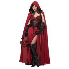 Dark Red Riding Hood Adult Costume - Women Costumes for Parties and Halloween.