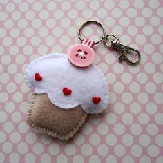 Handmade Felt Cupcake Keyring Charm - Vanilla