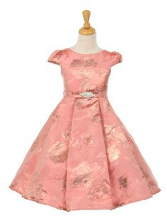 Girls Dress Style 2083 - Sleeveless Brocade Dress with Metallic Floral Design in Choice of Color  This style is simply exquisite in design and beauty. The sleeveless brocade dress is full of super cute designs that your little one will love, not to mention the matching sash and pretty brooch that sit perfectly on the waist.  http://www.flowergirldressforless.com/mm5/merchant.mvc?Screen=PROD&Product_Code=KK_2083COCP&Store_Code=Flower-Girl&Category_Code=New