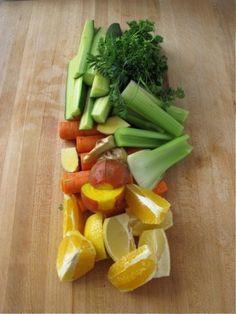 Barrett's Breakfast Juice: Celery, Carrots, Apple or Orange, Ginger, Cucumber, Beet, Lemon, Parsley/Mint