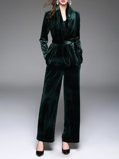 Shop Jumpsuits - Velvet Two Piece Plain Elegant Long Sleeve Jumpsuit online. Discover unique designers fashion at StyleWe.com.