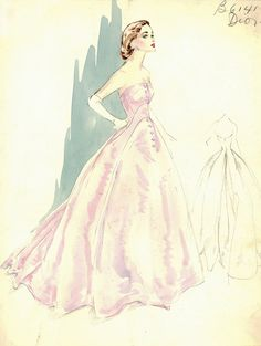 Evening gown sketch by Dior for Bergdorf Goodman, 1950s.