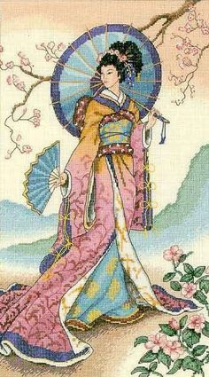 Thrilling Designing Your Own Cross Stitch Embroidery Patterns Ideas. Exhilarating Designing Your Own Cross Stitch Embroidery Patterns Ideas. Cross Stitch Charts, Cross Stitch Designs, Cross Stitch Patterns, Cross Stitch Embroidery, Embroidery Patterns, Art Asiatique, Japanese Art, Japanese Geisha, Asian Art