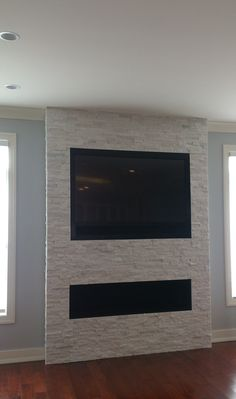 Tv Over Fireplace, Linear Fireplace, Home Fireplace, Fireplace Remodel, Living Room With Fireplace, Fireplace Design, Simple Fireplace, Fireplace Ideas, Living Room Tv