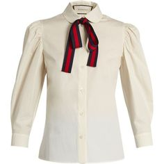 Gucci Tie-neck cotton-poplin blouse ($980) ❤ liked on Polyvore featuring tops, blouses, white necktie, neck tie blouse, white bow blouse, white necktie blouse and striped neckties