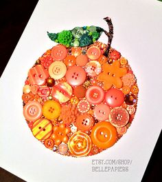8x10 Orange Fruit Buttons and Swarovski by BellePapiers on Etsy, $124.00