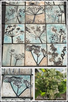 Ceramic tiles - inspired by nature. - Ceramic tiles – inspired by nature. Ceramic tiles – inspired by nature. Ceramic Wall Art, Ceramic Clay, Tile Art, Slab Pottery, Ceramic Pottery, Clay Projects, Clay Crafts, Cerámica Ideas, Printed Magnets