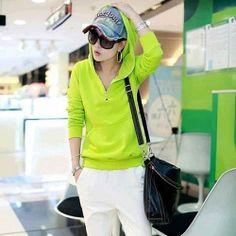 J41729 Simple leisure sports hooded coat green