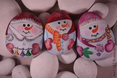 Snowmen painted rocks