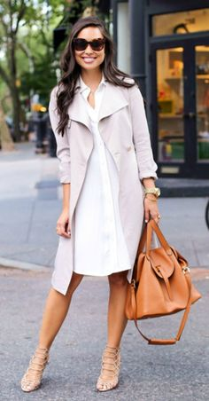 Right on Trend: Bring back pastel colours in this trench coat over a white shirt dress. Via Kat Tanita Dress: H&M, Shoes: Schutz, Coat: Reiss