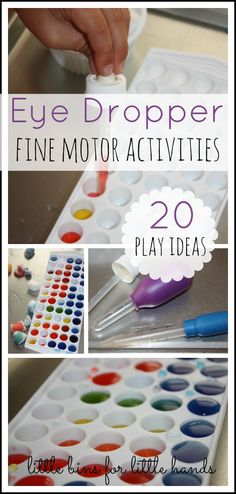 Eye Dropper Fine Motor Activities , there's something so fun young children using eyedroppers. I think they become little scientists when they use them: {A-Z Fine Motor Materials} Preschool Fine Motor Skills, Fine Motor Activities For Kids, Motor Skills Activities, Gross Motor Skills, Preschool Learning, Teaching, Stem Skills, Sensory Bins, Sensory Activities