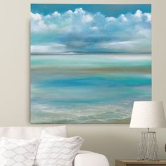 'Tranquility by the Sea II' by Ruane Manning Painting Print on Wrapped Canvas Beach Room, Beach Art, Beach Living Room, Beach Canvas, Canvas Art, Coastal Wall Art, Coastal Decor, Coastal Paint Colors, Coastal Furniture