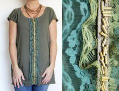 Alisa Burke shares a quick tutorial for adding embellishments to a simple tee, turning it into a stylish tunic-inspired top. I love her use of lace hem facing and her tips for adding beads without ...