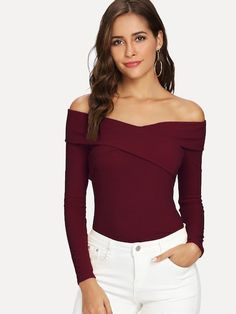 To find out about the Cross Wrap Front Rib Knit Bardot Tee at SHEIN, part of our latest T-Shirts ready to shop online today! Col Bardot, Georgia, Spandex, Models, Long Sleeve Crop Top, Pullover, Sweatshirt, Pulls, Rib Knit