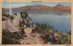 Apache Native American Indians, Wickiups Stands Arizona - Vintage Linen Postcard