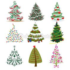 Set of Christmas Trees to create holiday cards, backgrounds and decorations. Christmas Rock, Christmas Design, Handmade Christmas, Clay Christmas Decorations, Christmas Ornaments, Christmas Trees, Christmas Classroom Door, Christmas Tree Drawing, Holiday Crafts