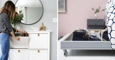 19 Ideas for an Adhesive Credenza Imitation Cement Tiles! Bathroom Cabinet Redo, Bathroom Storage Over Toilet, Bathroom Wood Shelves, Bathroom Mirror With Shelf, Ikea Bathroom, Mirror Tiles, Bathrooms, Diy Storage Shelves, Storage Mirror