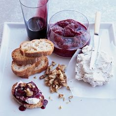 Goat Cheese Mousse with Red-Wine Caramel | Food & Wine - Dinner Party - Appetizer - Party Food - Wine Tasting - Cheese Plate