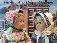 """PDF Sewing Pattern - Four American Girl Historical Bonnets / Sewing Pattern for 18"""" Dolls"""