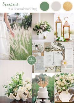 Seagrass - Coastal Wedding Inspiration in Green, Ivory, and Bronze | See More! http://heyweddinglady.com/seaglass-seagrass-coastal-wedding-inspiration/