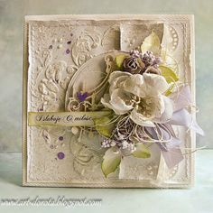 From Dorota Kopec in Stalowa Wola, Podkarpackie, Poland. Wedding Anniversary Cards, Wedding Cards, Mixed Media Cards, Shabby Chic Cards, Engagement Cards, Beautiful Handmade Cards, Vintage Crafts, Card Making Inspiration, Pretty Cards