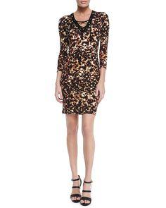 Lace-Up Tortoise-Print Sheath Dress, Brown Multi - Roberto Cavalli