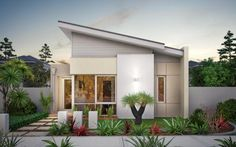Elegant Home Design Single Story Plus Small Garden Ideas Add More Freshness In House Sloping Roof one storey and two storey house design plan Home design