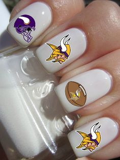 Minnesota Vikings Football Nail Decals by PineGalaxy on Etsy, $4.50