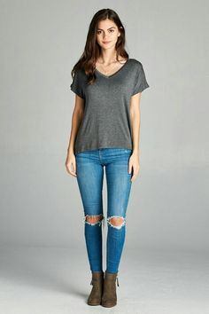 SHORT SLEEVE V-NECK TOP, Longer in the back.    Fits true to size.    Small (fits 6-8) Medium (fits10-12) Large (fits 14-16) XLarge (fits 16-18) 2XLarge (fits 18-20) 3XLarge (fits 20-22)    95% RAYON 5% SPANDEX | Shop this product here: http://spreesy.com/clarbelles/127 | Shop all of our products at http://spreesy.com/clarbelles    | Pinterest selling powered by Spreesy.com