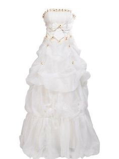 Artwedding Pick Up Organza Bridal Gown with Flower and