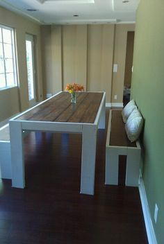 I got really excited when we were about to move into our new home and sold pretty much all of our furniture. I figured that our round dining table just wouldn't work in the new long and narrow spac...