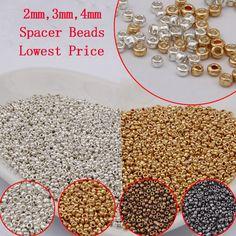 2 MM (2000 UNIDS) 3 MM (500 UNIDS) 4 MM (200 UNIDS) Oro Plata Espaciador de Los granos de Cristal de Cristal de Color bronce, Checa Seed Perlas Para La Joyería que hace DIY