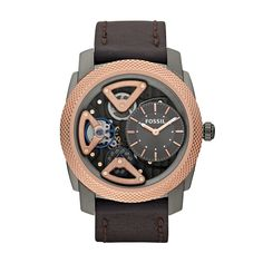 Shop for Fossil Men's 'Mechanical Twist' Leather Strap Watch. Get free delivery On EVERYTHING* Overstock - Your Online Watches Store! Fossil Leather Watch, Brown Leather Watch, Grey Leather, Fossil Watches For Men, Cool Watches, Men's Watches, Wrist Watches, Luxury Watches, Skeleton Watches