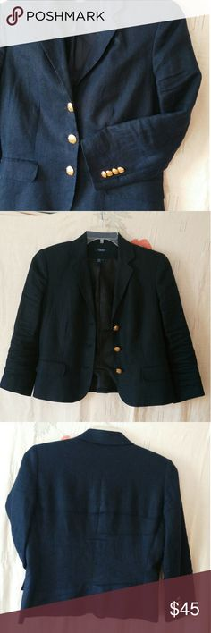 Linen Blazer, Navy, Chaps RL , Sz 6 Elegant, comfortable navy, linen blazer with 3/4 length sleeves. Wear it pressed for business or scrunchy for travel.  Gold tone buttons. Fully lined. Excellent condition. Chaps Jackets & Coats Blazers