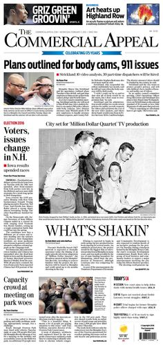 #20160203 #USA #TENNESSEE #Memphis #TheCommercialAppeal Wednesday FEB 3 2016 http://www.newseum.org/todaysfrontpages/?tfp_show=80&tfp_page=8&tfp_id=TN_CA
