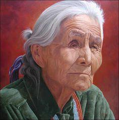 "Sandy Terry:  *Navajo Wisdom* -  30"" x 30"", oil on canvas"