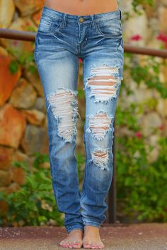 """Our best selling denim in a fun new wash that goes with everything, white accent stitching! Button fly with zipper, 5 pockets. Inseam Approx 32"""" Long. 97% Cott"""