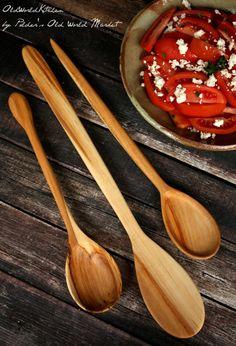 Wooden Spoon Set Kitchen Utensils Basic van OldWorldKitchen op Etsy