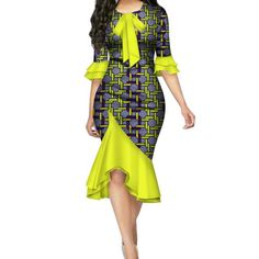 Fashion Vestidos African Dresses for Women Bazin Riche Bow Knot Patchwork Dress African Fashion Designers, Latest African Fashion Dresses, African Dresses For Women, African Print Dresses, African Print Fashion, Africa Fashion, African Attire, African Wear, African Women