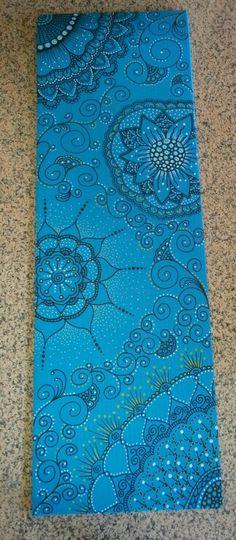 Yoga mat hand painted. Zentangle and doodle flower
