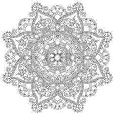 Kreis Spitze Ornament, ornamentale runden geometrischen Doilymuster, schwarz und weiß Sammlung photo